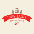 Easter sale special offer with red ribbon. Banner design template. Flat llustration