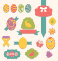 Easter scrapbook set labels ribbons and other elements illustration Royalty Free Stock Photos
