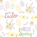 Easter seamless hand drawn pattern with cute little chicken, spring flowers - narcissus, easter eggs, letters Royalty Free Stock Photo