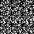 Easter seamless monochrome pattern with eggs and floral ornaments Stock Photo