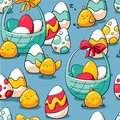 Easter seamless pattern with baskets, chicken and easter eggs. Holiday background for wrapping paper, fabric. Hand drawn
