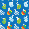 Easter seamless pattern with bunnies and eggs Royalty Free Stock Photography