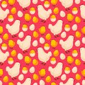 Easter seamless pattern with chicks, hens and Royalty Free Stock Photo