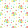Easter seamless pattern with colorful eggs, flowers, bouquet on a transparent background. Vector hand-drawn illustration for sprin
