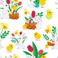 Easter seamless pattern with cute bunnies , painted eggs in a wicker basket , fluffy chickens, spring tulips and daffodils on a