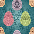 Easter Seamless Pattern with Eggs and Leaves
