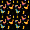 Easter seamless pattern with hen and nest. hen and chicken, rooster vector