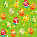 Easter seamless pattern holiday with green backgroound Stock Photo