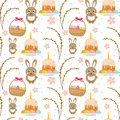 Easter seamless pattern with rabbit, egg basket, cake, pussy willow. Endless Spring background, texture, digital paper