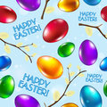 Easter seamless pattern vector blue happy easter сongratulation Stock Photo