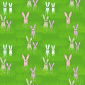 Easter seamless with rabbit and grass Stock Image