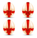 Easter set celebration egg wrapping red bow illustration for your decoration Royalty Free Stock Photography