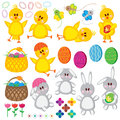Easter set chickens eggs baskets rabbits butt butterflies flowers and patterns on the white background Stock Photos