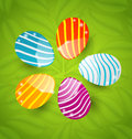 Easter set colorful ornamental eggs illustration on green leaves background Stock Photo