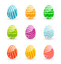 Easter set colorful ornamental eggs illustration on white background Royalty Free Stock Photography