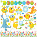 Easter set, cute chickens, rabbit, cock, egg Royalty Free Stock Image