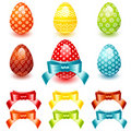 Easter set egg with bow Royalty Free Stock Image