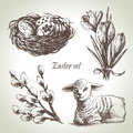 Easter set hand drawn illustrations Royalty Free Stock Images