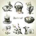 Easter set hand drawn illustrations Royalty Free Stock Photos
