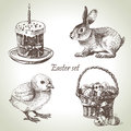 Easter set hand drawn vintage illustrations Stock Images