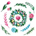 Easter set of watercolor elements Wreath eggs flowers branches on white isolated background