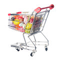 Easter shopping trolley with many decorative eggs on white Royalty Free Stock Photos