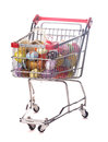 Easter shopping trolley with many decorative eggs on white Stock Photography