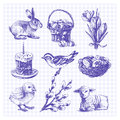 Easter sketch set hand drawn illustrations Royalty Free Stock Photography