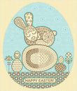Easter sleep bunny in ornament vector illustration Royalty Free Stock Images