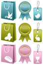 Easter or spring sale collection of elements shopping bags award ribbons and gift tags in three different colors blue green and Royalty Free Stock Photos