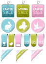 Easter or spring sale elements set collection of gift tags labels bookmarks stickers and corner ribbons in three different colors Stock Photo