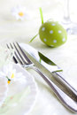 Easter Spring table setting Stock Photo