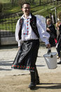 Easter sprinkling in holloko nograd hungary young man paloc folk costume looking for a girl the girls was supposed to make them Royalty Free Stock Photos
