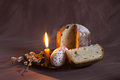 Easter still life with a candle and a cake with sprigs of willow Royalty Free Stock Photo