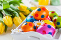 Easter still life with fresh tulips beautiful Royalty Free Stock Image