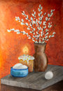 Easter still life painting artistic watercolor flowers candles and eggs Stock Photos