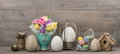 Easter stillife tulip flowers and colored eggs decoration with Stock Photo