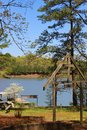 Easter sunday at the lake allatoona in acworth georgia with archway cross and dock Royalty Free Stock Photos