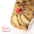 Easter sweet bread with red egg Royalty Free Stock Images