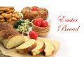 Easter sweet bread with red eggs and shortbread cookies Royalty Free Stock Photography
