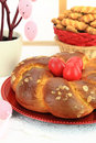Easter sweet bread with red eggs and shortbread cookies Stock Images