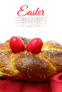 Easter sweet brioche with red eggs Stock Images