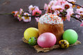 Easter symbol colorful eggs and panettone