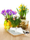 Easter table setting with spring flowers and eggs festive decoration on white background Royalty Free Stock Image