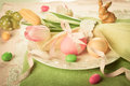 Easter table setting vintage style with tulips and eggs Royalty Free Stock Photos