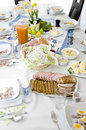 Easter tableware with traditional polish eastern dishes Royalty Free Stock Photos