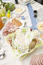 Easter tableware with traditional polish eastern dishes Royalty Free Stock Images