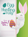 Easter Template with a White Bunny for Invitations to Haunting, Vector Illustration