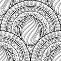 Easter theme mandala with doodle egg. Ethnic floral pattern. Black and white design. Henna paisley tribal seamless background