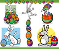 Easter themes set cartoon illustration Royalty Free Stock Images